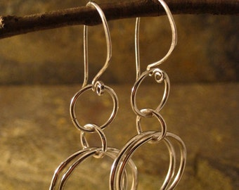 Hoop-y fine silver earrings --- Free shipping --- Ready to ship!