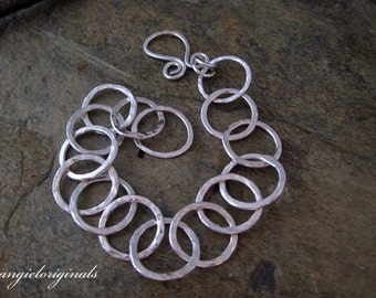 Fine silver bracelet of circles ---- Free shipping