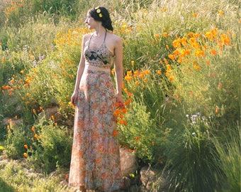 27 Inch Waist... Vintage 1970s Soft Pastel Floral Maxi Skirt... Super Romantic 70s Boho