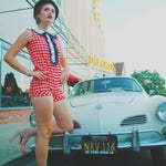 Fourth of July/ July 4/ 1960s/ Romper / Onesie / Playsuit / Play Suit / 60s /Mini / Red White and Blue / Mod