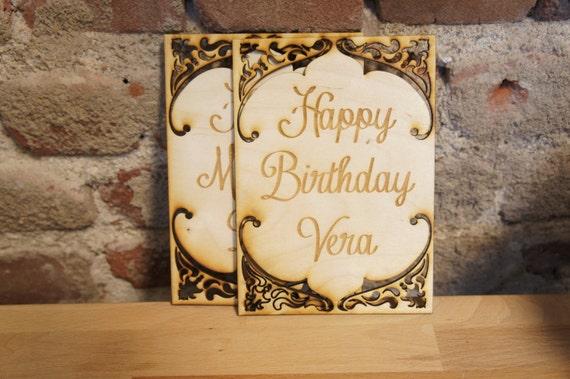 Real Wood Birthday Card Laser Engraved Laser Cut Custom Birthday Card