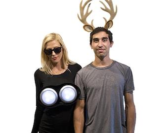 Deer in the Headlights Couples Halloween Costume Pun play on words Adult Funny Haloween men women Deer Antler headband Costume Idea humor