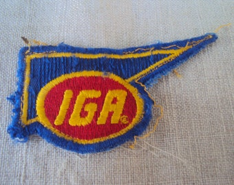 Vintage IGA Grocery Store Supermarket Logo Embroidered Old School Small Patch