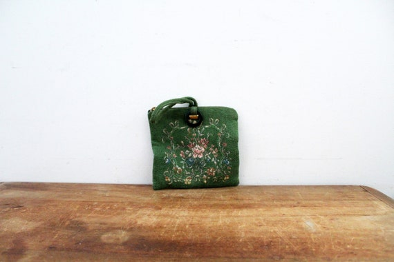 Tiny Small Vintage 1940s Green Floral  Tapestry Wr