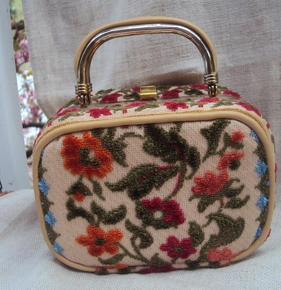 Vintage Tiny 1960s Textured Velvet Tapestry  Flora