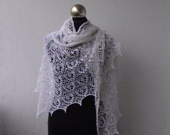 Wedding shawl,White beaded hand knitted merino lace shawl with nupps,bridal cover up, knitted wedding shawl, bridal beaded shawl