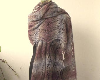 Heather and Grey hand knitted lace shawl,knit scarf