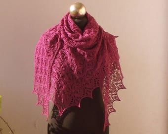 Fuchsia Purple hand knitted wool  lace shawl