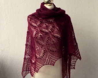 Wine Red hand knitted kid silk lace shawl with nupps, Queen Silvia kidsilk shawl
