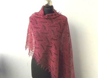 Antique Rose hand knitted  lace stole with nupps, knitted lace shawl
