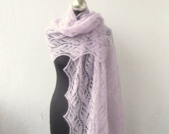 hand knitted kid silk  lace stole,Light Lilac knitted lace shawl, bridal cover up