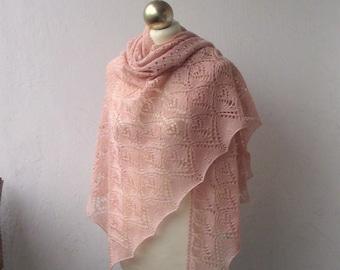 Light Salmon hand knitted shawl , merino and silk lace shawl