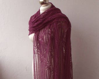 hand knitted lace stole, wool and cashmere  lace shawl, knitted lace stole