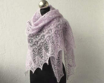 Light Lilac knitted lace shawl, bridal cover up, hand knitted kid silk  lace shawl