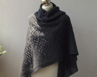 Charcoal hand knitted  shetland wool shawl with celtic cable motifs