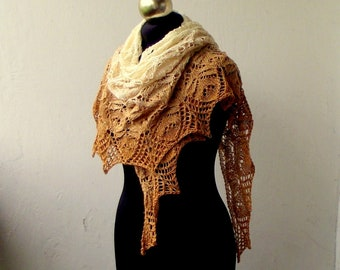 Gradient summer  shawl, Hand knitted lace shawl
