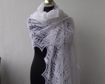 Wedding shawl, White knit lace shawl, hand knitted lace stole ,bridal shawl , white kid mohair and silk shawl,bridal cover up
