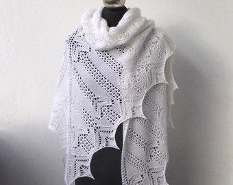 Wedding shawl, White hand knitted shawl , bridal cover up,  white wedding shawl, merino and cashmere white shawl, bridal shawl