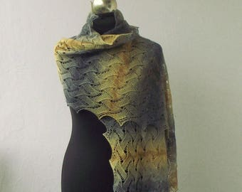 Yellow and Grey hand knitted merino lace shawl, knit lace scarf