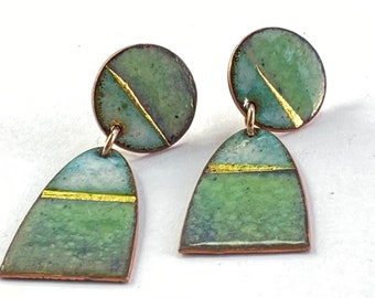 Enamel green & gold landscape stud dangle earrings.  Nature inspired.  Statement earrings