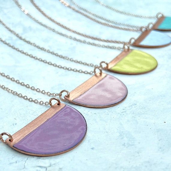Pastel enamel half moon necklace - Geometric enamel and copper necklace on rose gold plated chain.