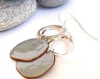 Grey earrings - Pebble shaped enamel earrings with silver hoops - Every occasion
