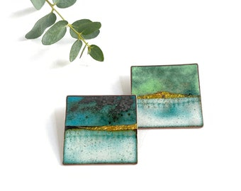 Enamel brooch inspired by beaches and British landscapes