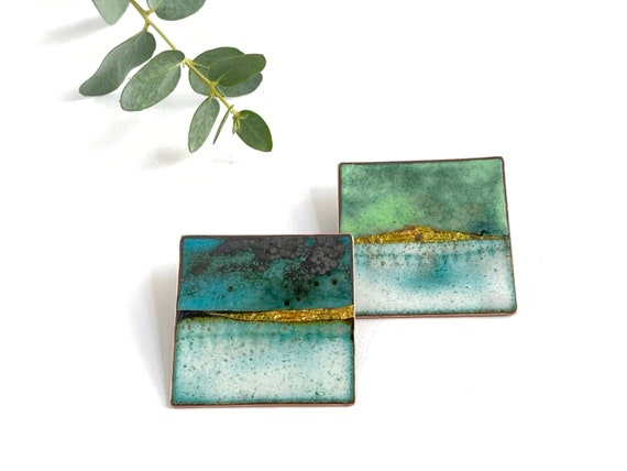 Blue Square pin  -  Enamel brooch inspired by beaches and British landscapes