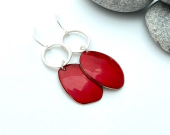Bright red pebble dangle earrings -  Enamel copper drop earrings with silver hoops  -  Autumn jewellery