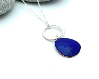 Blue pendant -  Pebble enamel copper necklace with silver hoops -  Autumn jewellery
