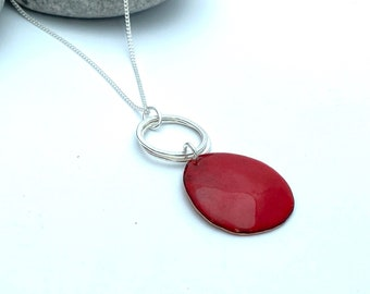 Red pendant -  Pebble enamel copper necklace with silver hoops -  Autumn jewellery