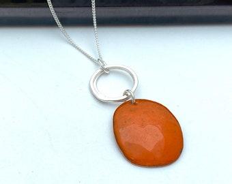 Orange pendant -  Pebble enamel copper necklace with silver hoops -  Autumn jewellery