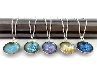 Enamel bowl pendant.  Turquoise disc jewellery. Copper and enamel silver necklace. Special gift