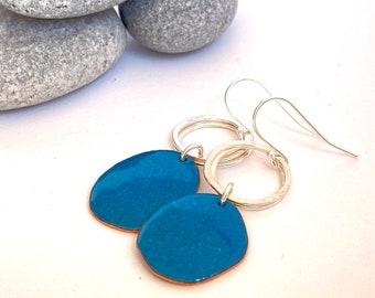 Teal dangle earrings - Pebble shaped enamel earrings with silver hoops - Every occasion