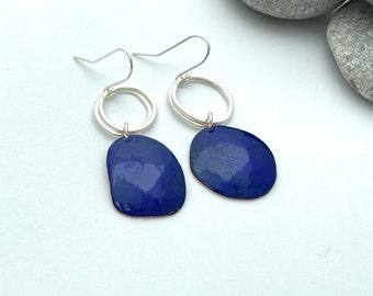 Blue pebble dangle earrings -  Enamel copper drop earrings with silver hoops  -  Enamel jewelry