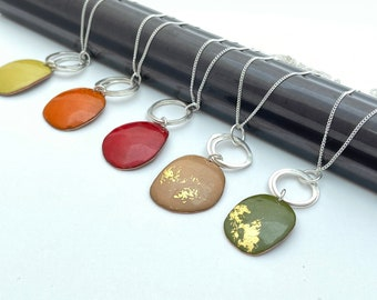 Mustard yellow pendant -  Pebble enamel copper necklace with silver hoops -  Autumn jewellery