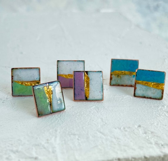 Square stud earrings enamel.  Landscape design Studs