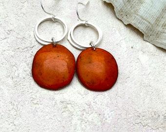 Orange pebble dangle earrings -  Enamel copper drop earrings with silver hoops  -  Autumn jewellery