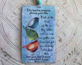 Matthew 6 Scripture Bookmark Laminated - Religious Christian Bookmark - 1 Laminated Bible Bookmark - Whimsical Birds Bookmark