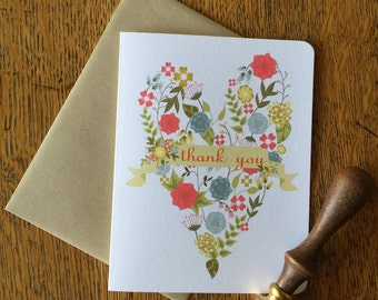 Thank You Card - Floral Heart Thank You Notes - 6 or 12 Thank You Cards - Wedding, Bridal Shower, or Personalized Cards with/without Seals