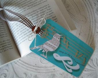 Singing Bird  Bookmark Laminated Bookmark - Religious Scripture Bookmark - gift, hostess gift - 1 Bird Bookmark