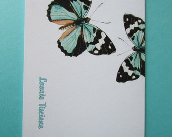 Blue Butterfly Cards Personalized - Customized Butterfly Cards - Set of 6 cards