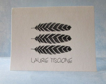 Feathered Personalized Cards - Rustic Customized Cards - 6 Rustic Cards Blank Inside