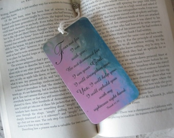 Isaiah Scripture Bookmark Laminated Bookmark - Religious Christian Bookmark - hostess gift - 1 Pink and Blue Bookmark