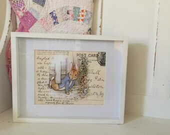 Peter Rabbit Print - 8x10 inches - Beatrix Potter - antique postcard background - 1 Peter Rabbit Print (frame not included)