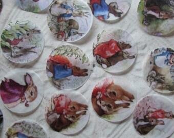Peter Rabbit Stickers or Envelope Seals  - 24 handpunched Peter Rabbit and Benjamin Bunny stickers or seals - 1.5 inch