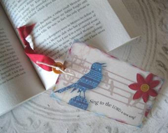 Singing Bluebird  Bookmark Laminated Bookmark - Christian Scripture Bookmark - hostess gift - 1 Bluebird Bookmark