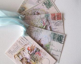 Beatrix Potter Postcard Tags -  Peter Rabbit and Benjamin Bunny - 3 3/4 x 2 1/2 inches - 5 tags Set 2