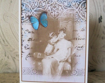 Mother and Daughter Card Set -  Guess Who Notecards in sepia with cobalt blue butterfly accent  -  Antique Postcard Image -6 Card Set