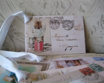 Peter Rabbit Postcard Tags -Digital File - Miss Moppet, the Farmer's Wife and more  - 5 Gift Tags - pdf - Set 5